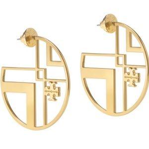 Tory Burch large gold hoop earrings